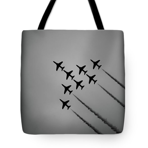 Tote Bag featuring the photograph Red Arrows - Teesside Airshow 2016 Silhouette by Scott Lyons