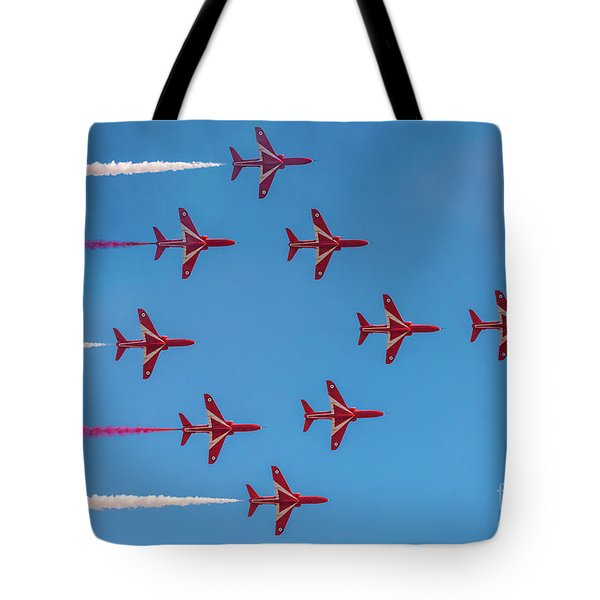 Tote Bag featuring the photograph Red Arrows Typhoon Formation by Gary Eason