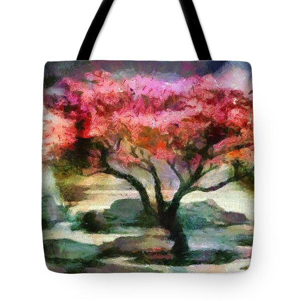 Red Autumn Tree Tote Bag