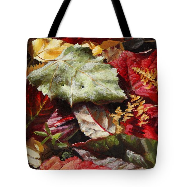 Tote Bag featuring the painting Red Autumn - Wasilla Leaves by Karen Whitworth