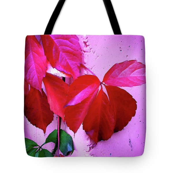 Red Autumnal Leaves And Purple Wall Tote Bag