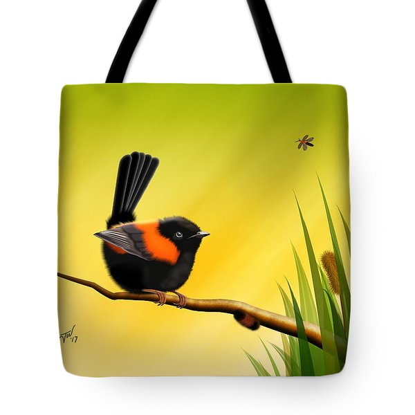 Tote Bag featuring the digital art Red Backed Fairy Wren by John Wills
