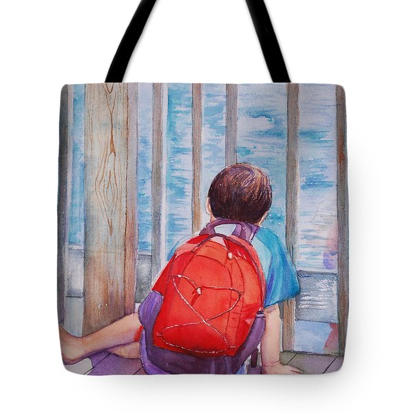 Red Backpack Tote Bag