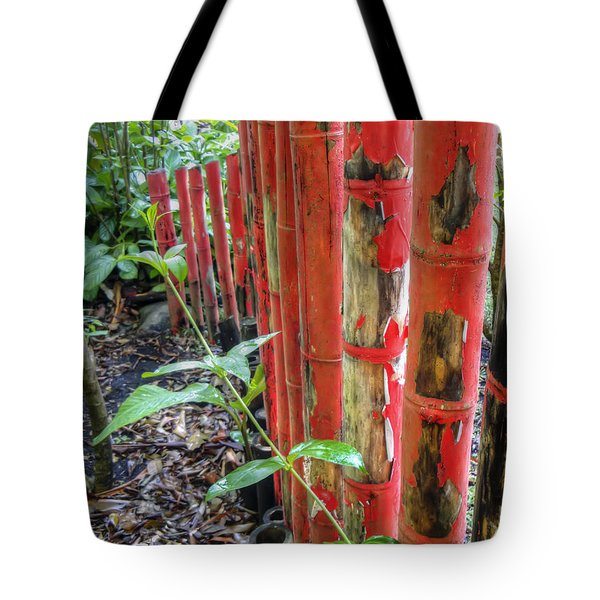 Red Bamboo Tote Bag by Dolly Sanchez