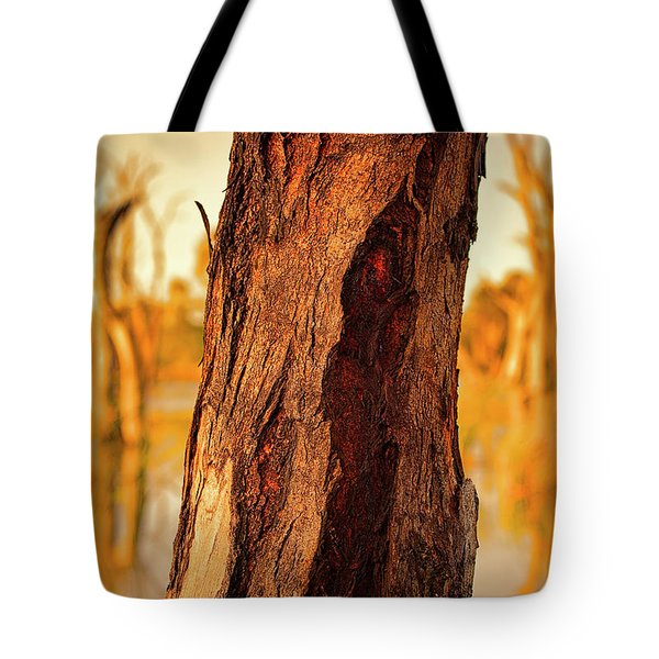 Tote Bag featuring the photograph Red Bark by Douglas Barnard