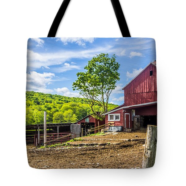 Tote Bag featuring the photograph Red Barn And Cows by Paula Porterfield-Izzo