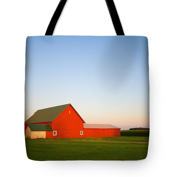 Red Barn And The Moon Tote Bag