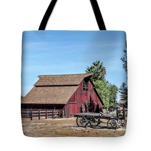 Red Barn And Wagon Tote Bag
