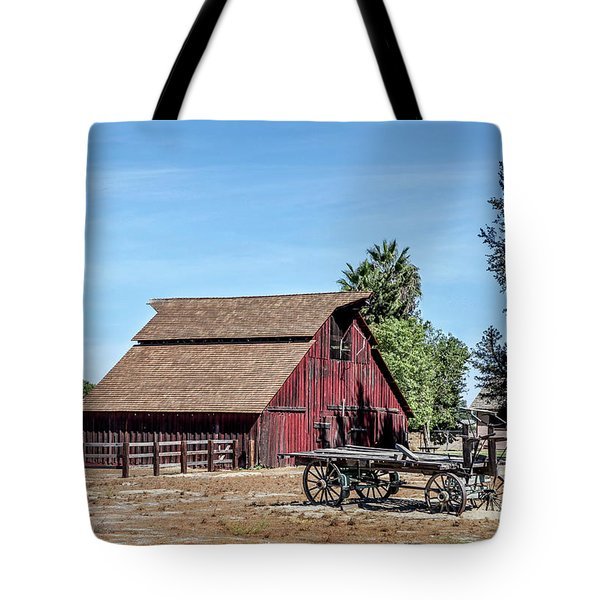 Red Barn And Wagon Tote Bag