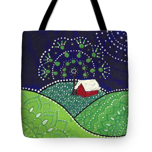 Red Barn At Night Tote Bag