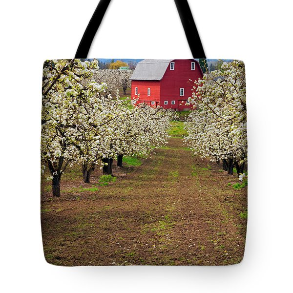 Red Barn Avenue Tote Bag by Mike  Dawson
