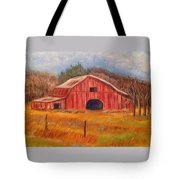 Red Barn Painting Tote Bag
