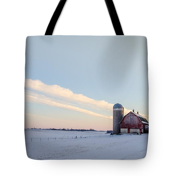 Tote Bag featuring the photograph Red Barn by Dan Traun