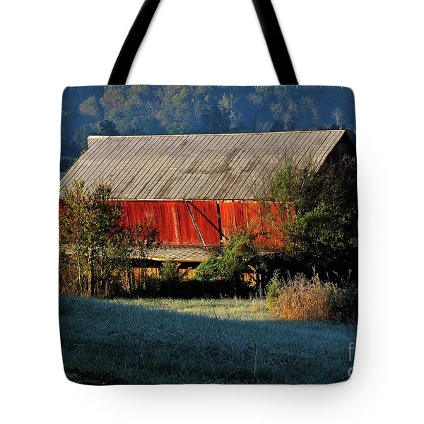 Tote Bag featuring the photograph Red Barn by Douglas Stucky