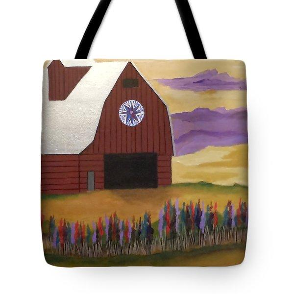 Red Barn Golden Landscape Tote Bag