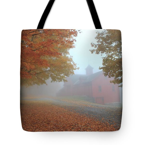 Red Barn In Autumn Fog Tote Bag by John Burk