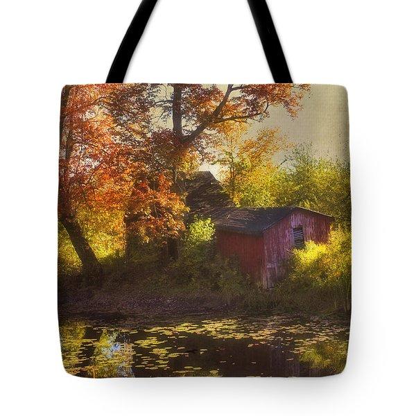 Red Barn In Autumn Tote Bag by Joann Vitali