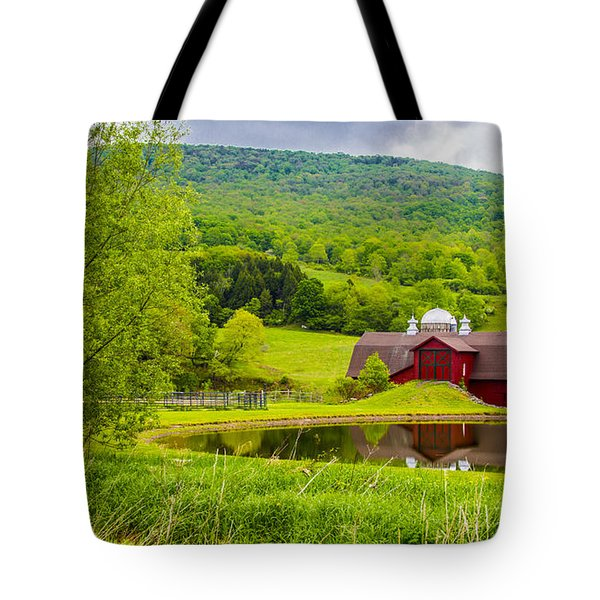 Tote Bag featuring the photograph Red Barn In Green Mountains by Paula Porterfield-Izzo