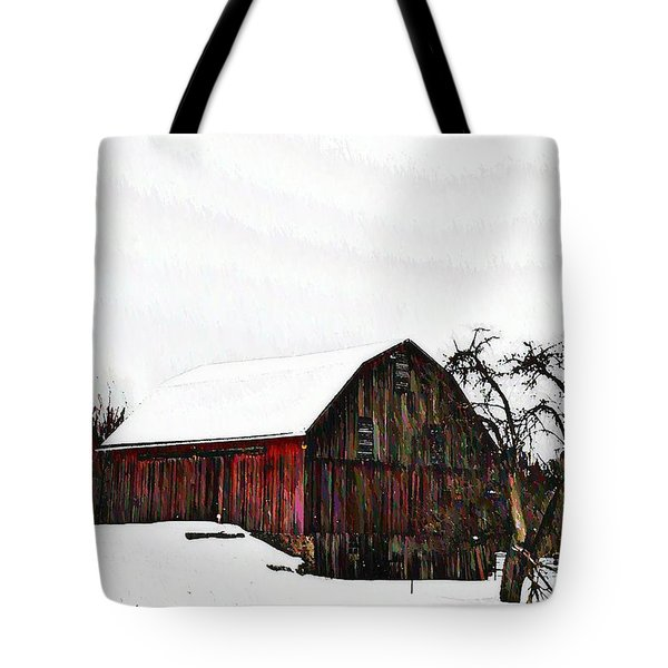 Red Barn In Snow Tote Bag by Bill Cannon