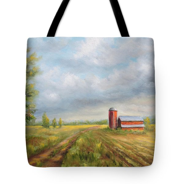 Tote Bag featuring the painting Red Barn In Spring by  Luczay