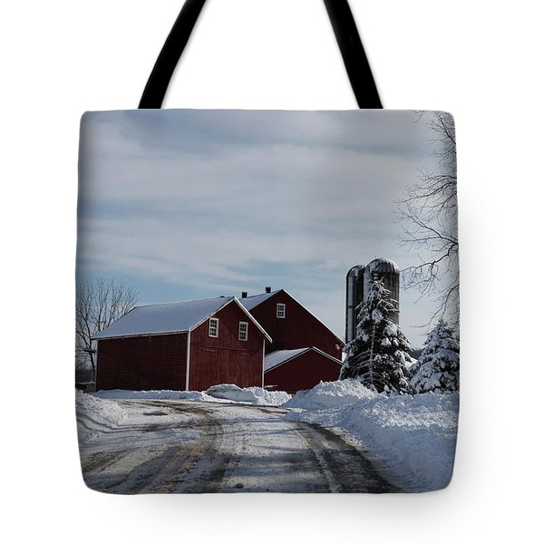 Red Barn In The Snow Tote Bag
