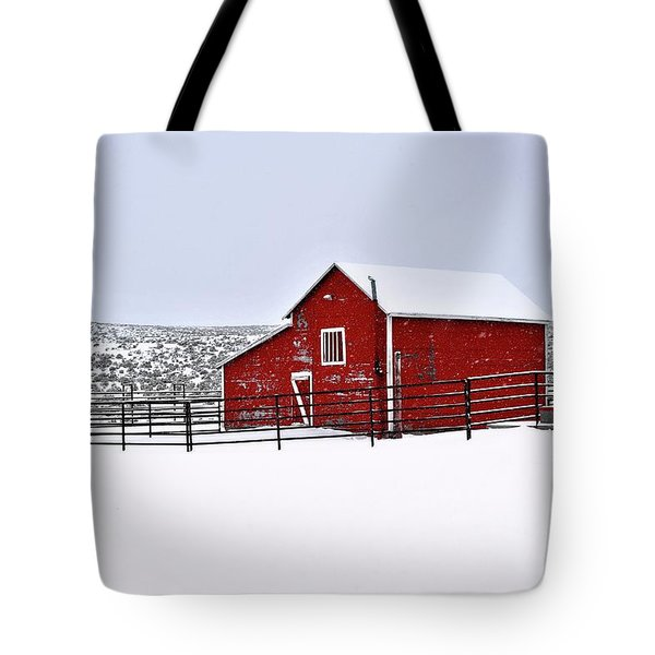 Red Barn In Winter Tote Bag