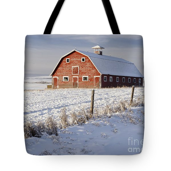 Red Barn In Winter Coat Tote Bag