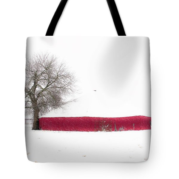 Tote Bag featuring the photograph Red Barn In Winter by Tamyra Ayles