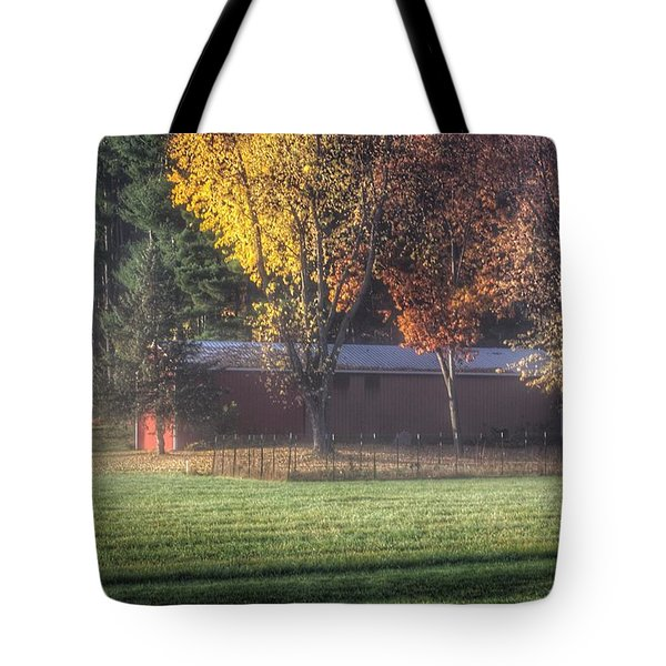 0041 - Red Barn On A Foggy Fall Morning Tote Bag