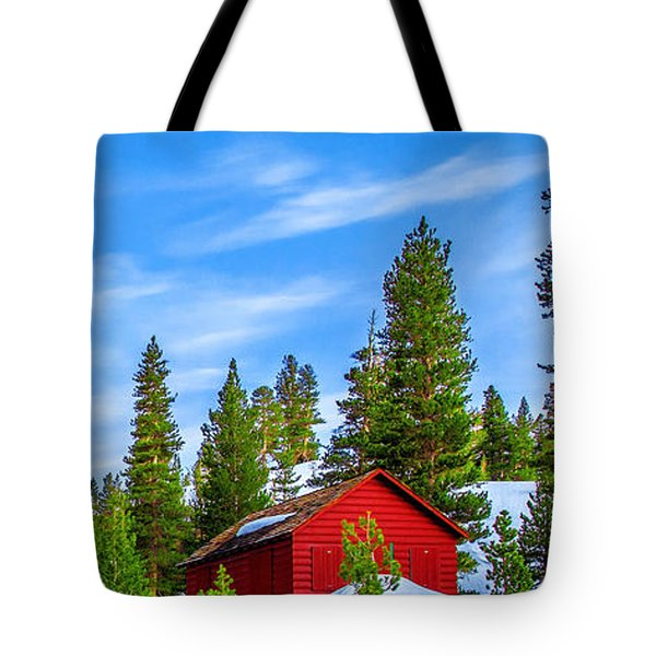 Red Barn On A Hill Tote Bag