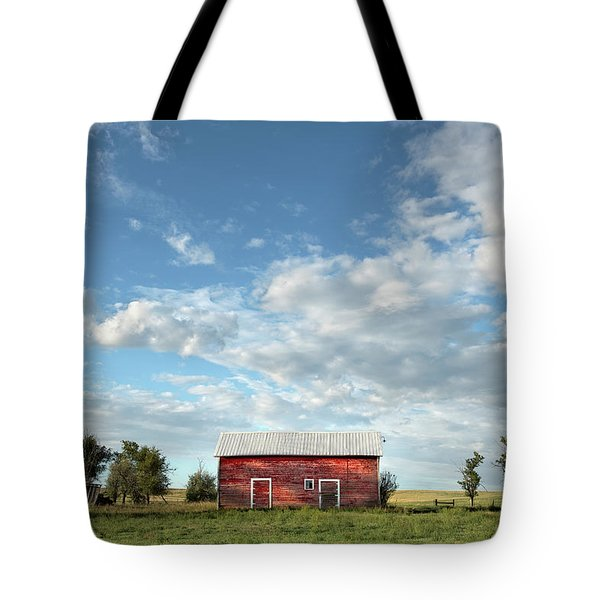 Red Barn On The Prairie Tote Bag