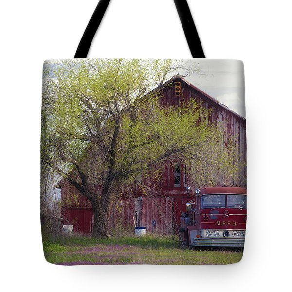 Red Barn Red Truck Tote Bag by Toni Hopper