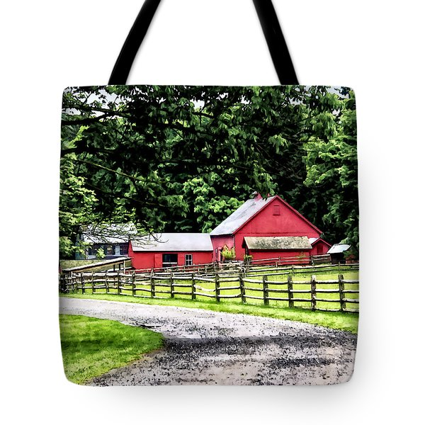 Red Barn Tote Bag by Susan Savad