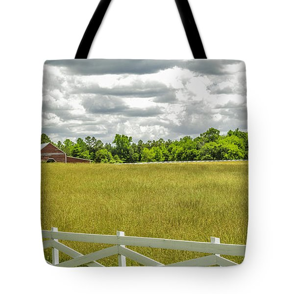 Red Barn White Fence Panorama 02 Tote Bag