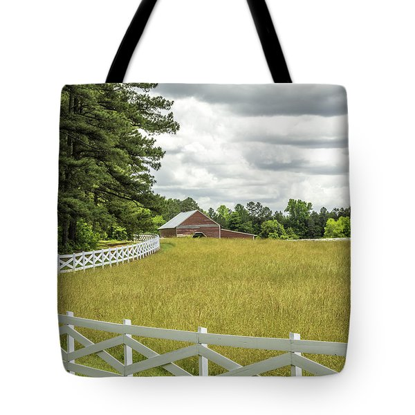 Red Barn White Fence Panorama 03 Tote Bag