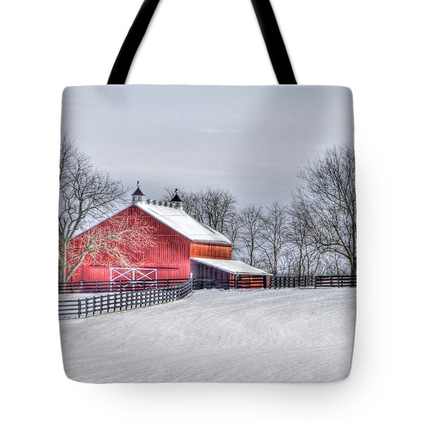 Red Barn Winter Tote Bag