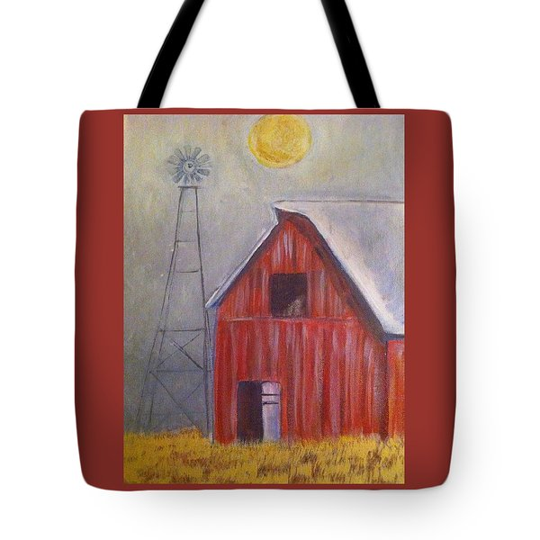 Red Barn With Windmill Tote Bag by Belinda Lawson