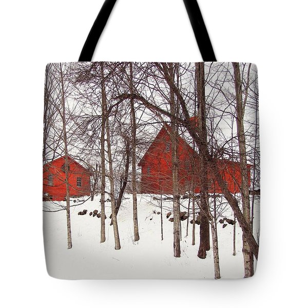 Red Barns Tote Bag by Betsy Zimmerli