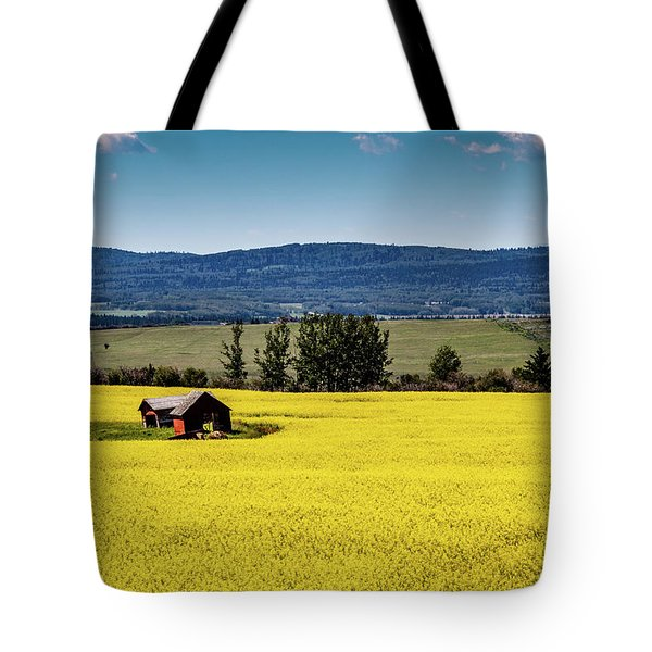 Red Barns In A Sea Of Canola Tote Bag