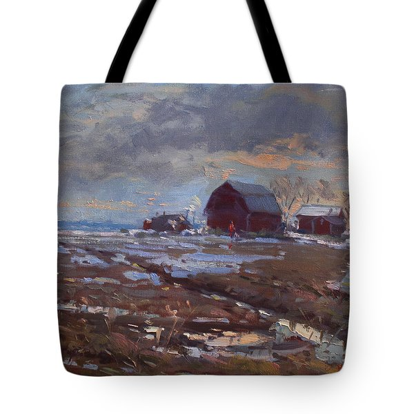 Red Barns In The Farm Tote Bag