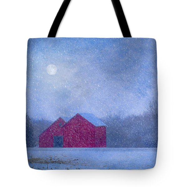 Red Barns In The Moonlight Tote Bag by Nikolyn McDonald