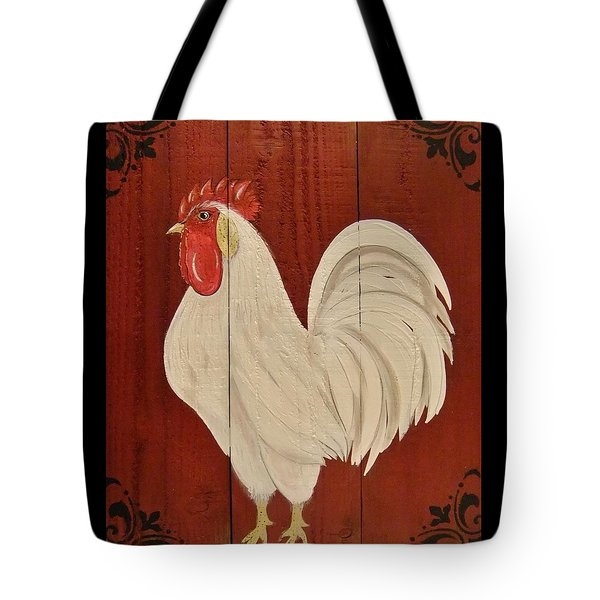 Tote Bag featuring the painting Red Barnyard Rooster by Cindy Micklos