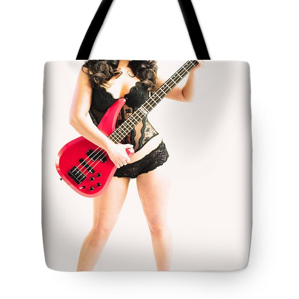 Red Bass Guitar Tote Bag