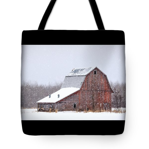 Red Beauty In Snow Tote Bag