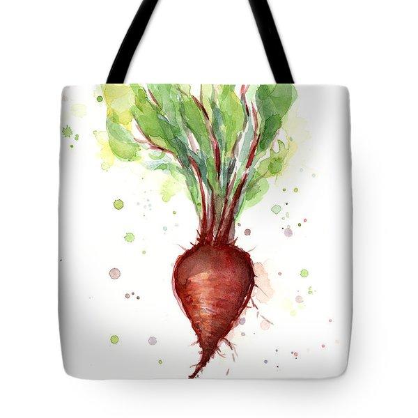 Red Beet Watercolor Tote Bag