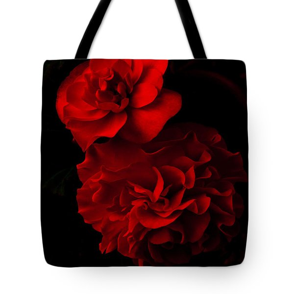 Tote Bag featuring the pyrography Red Begonia by Lynn Hughes