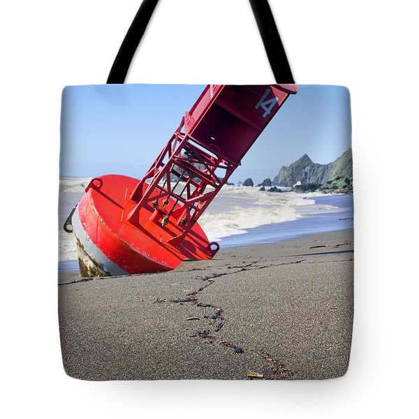 Red Bell Buoy On Beach With Bottle Tote Bag