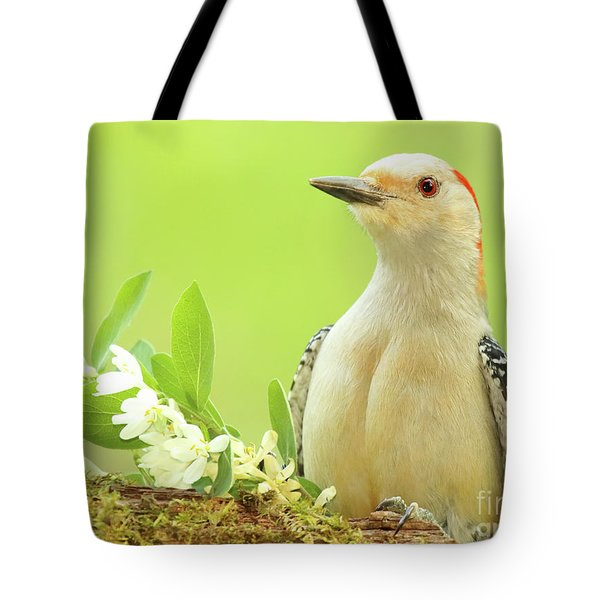 Red-bellied Woodpecker Among Flowers Tote Bag