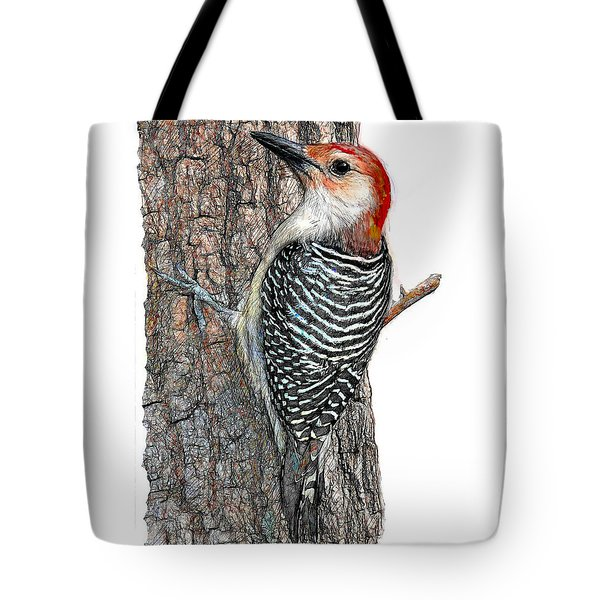 Red-bellied Woodpecker B And W Tote Bag