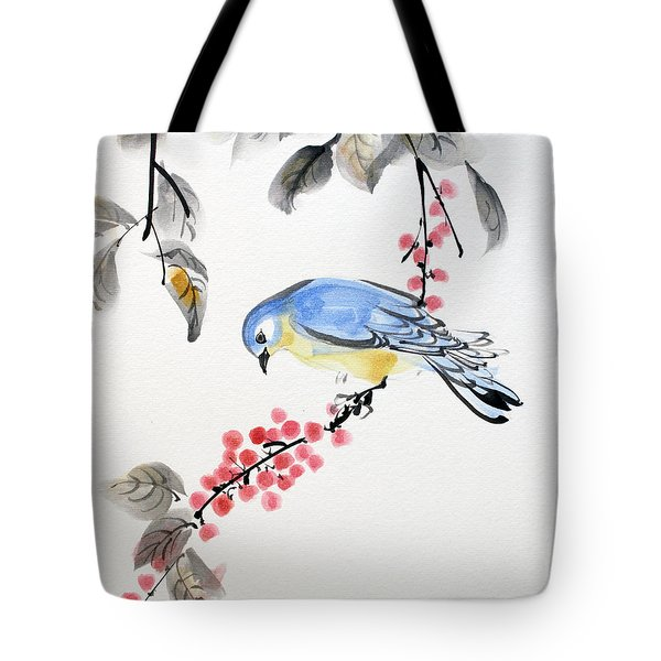 Red Berries Blue Bird Tote Bag